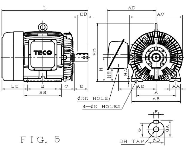 东元AEEF-90KW-4P卧式电机图纸